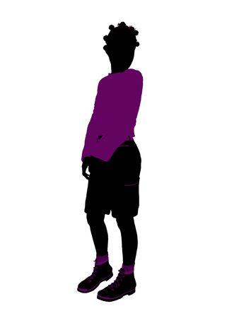 African American tiener silhouet op een witte achtergrond Stockfoto