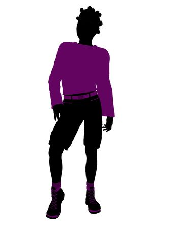 African American teenager silhouette on a white background Stockfoto