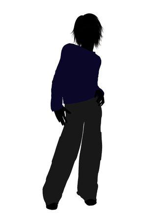 Tiener silhouet op een witte achtergrond