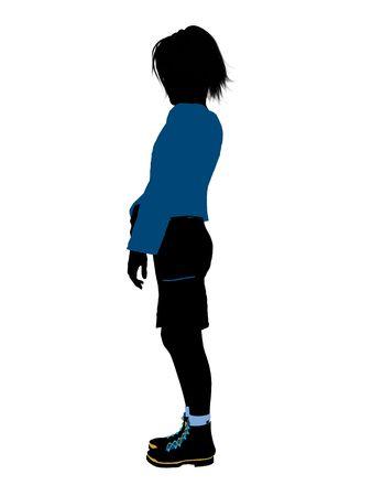 Tienersilhouet op een witte achtergrond Stockfoto