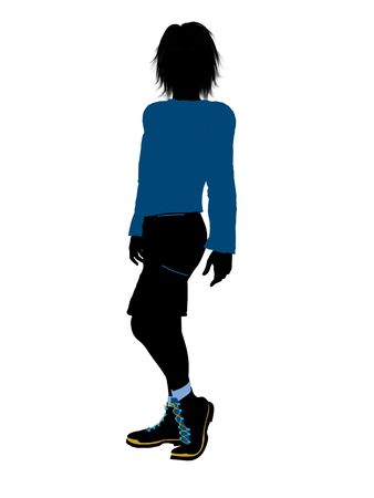 Teenager silhouette on a white background Stock fotó