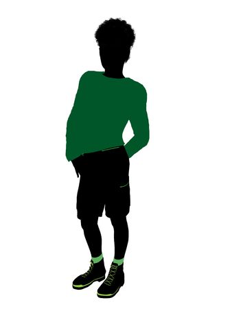 adolescent african american: African American teenager silhouette on a white background Stock Photo