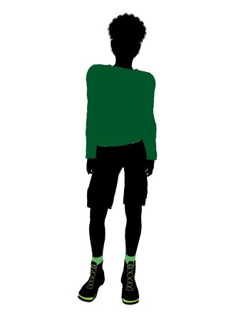 African American teenager silhouette on a white background Stock fotó