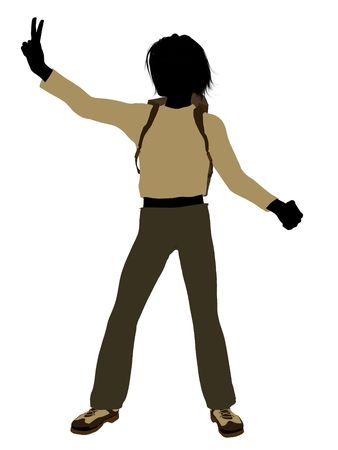 Teenage hiker illustration silhouette on a white background illustration