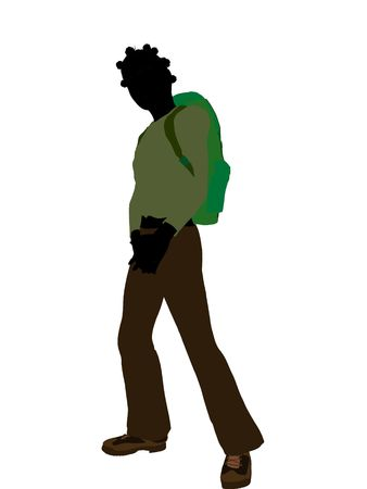 African american teen hiker illustration silhouette on a white background Stock fotó