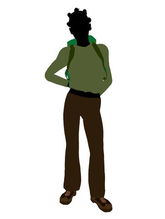 African american teen hiker illustration silhouette on a white background illustration