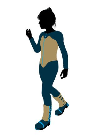 Female teen skier silhouette on a white background