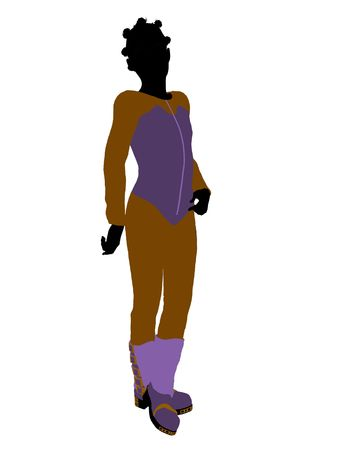 African american female teen skier silhouette on a white background