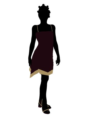 sundress: African American teenager silhouette on a white background Stock Photo