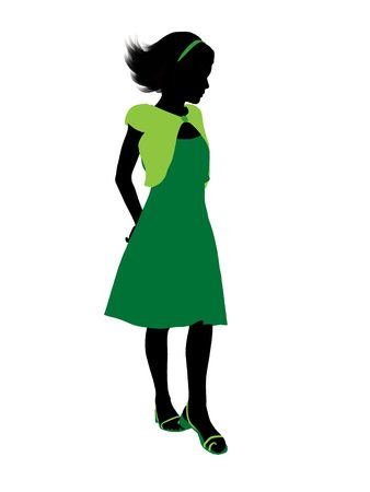 sundress: Teenager silhouette on a white background Stock Photo