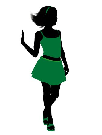 adolescent: Teenager silhouette on a white background Stock Photo