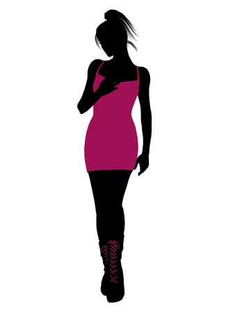fashionably: A girl silhouette fashionably dressed in a yellow dress on a white background