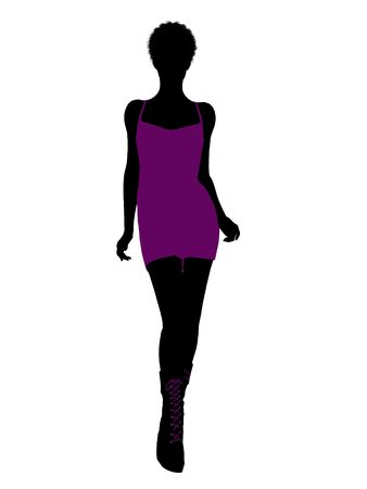 An african american girl silhouette punk girl on a white background