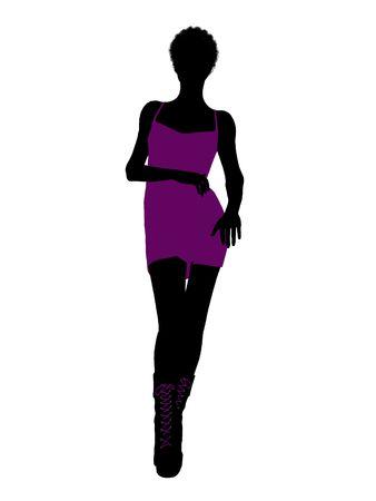 Een african american girl silhouet punk meisje op een witte achtergrond