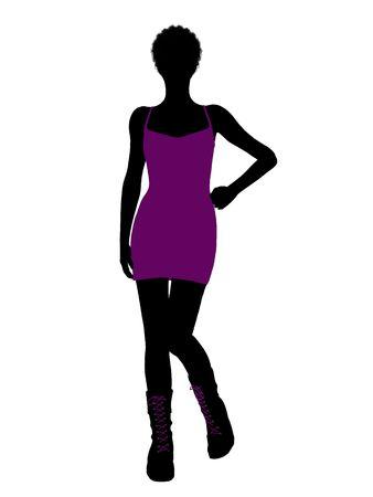 Een african Amerikaanse meisje silhouet hanen meisje op een witte achtergrond