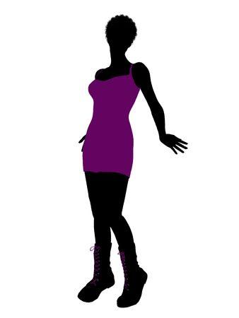 Een Afrikaans Amerikaans punkmeisje van het meisjessilhouet op een witte achtergrond