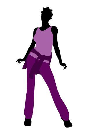 Afrikaanse Amerikaanse vrouw terloops gekleed silhouet op een witte achtergrond