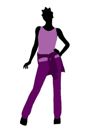 African american woman casually dressed silhouette on a white background Фото со стока