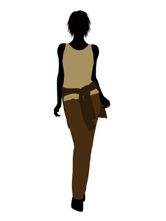 Woman casually dressed silhouette on a white background