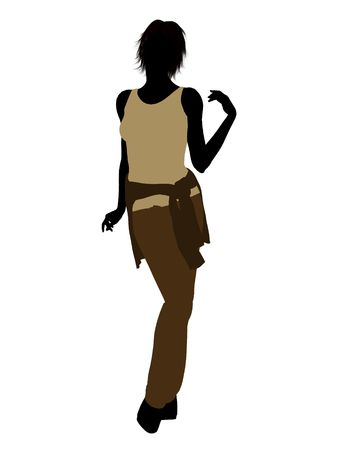 Vrouw terloops gekleed silhouet op een witte achtergrond Stockfoto