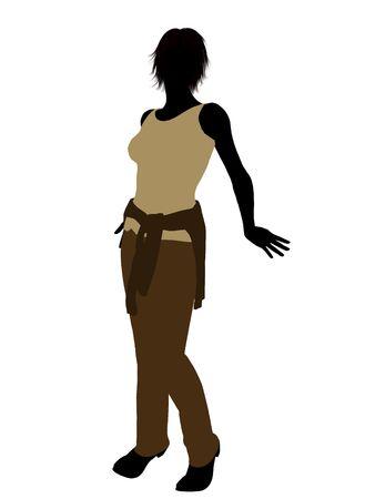 Silhouet vrouw nonchalant gekleed op een witte achtergrond Stockfoto