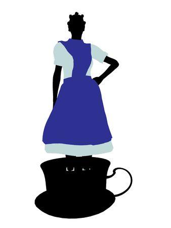cheshire cat: Allice en el pa?s de las maravillas silueta de ilustraci?n sobre un fondo blanco  Editorial