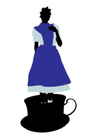 cheshire cat: Allice en el pa�s de las maravillas silueta de ilustraci�n sobre un fondo blanco  Editorial