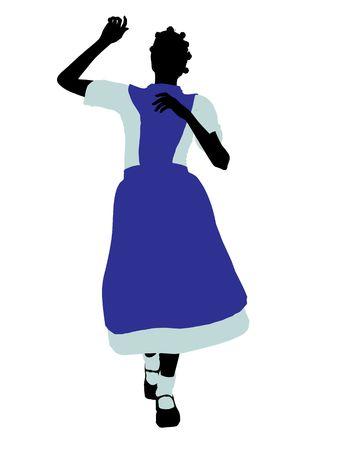 cheshire cat: Allice en el pa�s de las maravillas silueta de ilustraci�n sobre un fondo blanco