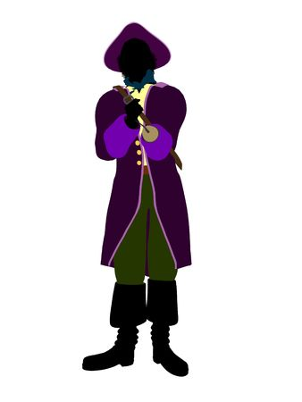 tinker: Captain hook illustration silhouette on a white background