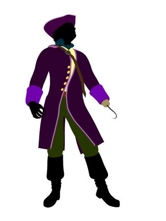tock illustration: Captain hook illustration silhouette on a white background