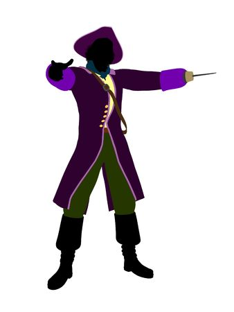 Captain hook illustration silhouette on a white background Stock Illustration - 6585848