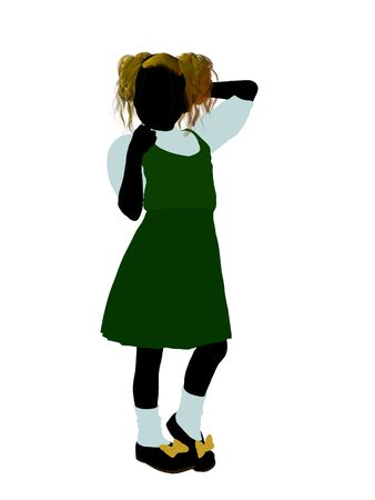 Goldielocks illustration silhouette on a white background
