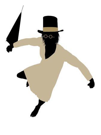 John of Peter Pan illustration silhouette on a white background Banco de Imagens