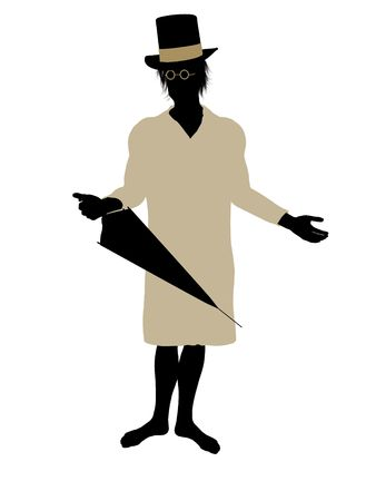 tock illustration: John of Peter Pan illustration silhouette on a white background Stock Photo