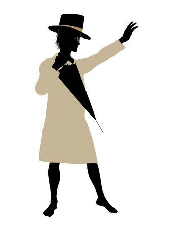 st bernard: John of Peter Pan illustration silhouette on a white background Stock Photo