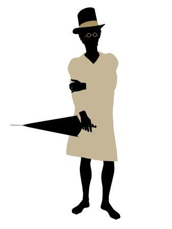 tinker: John of Peter Pan illustration silhouette on a white background Stock Photo