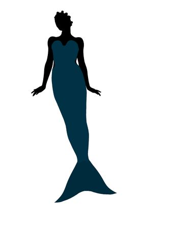 Little mermaid illustration silhouette on a white background