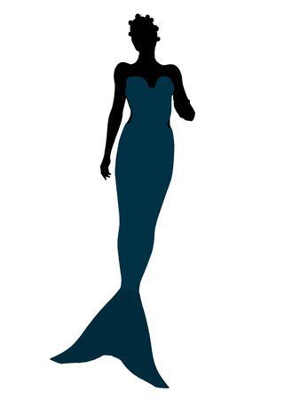 flounder: Little mermaid illustration silhouette on a white background