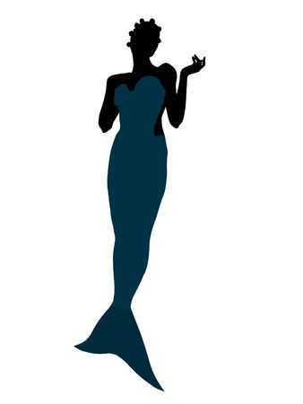 Little mermaid illustration silhouette on a white background illustration