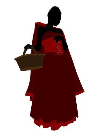 caperucita roja: Silueta de ilustraci�n de Little Red Riding Hood sobre un fondo blanco