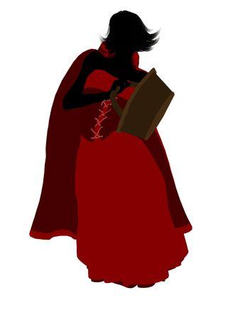 caperucita roja: Little Red Riding Hood ilustraci�n silueta sobre un fondo blanco