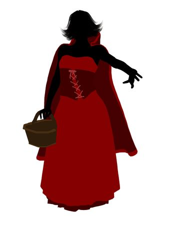Little Red Riding Hood illustration silhouette on a white background Stok Fotoğraf