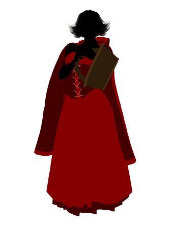czerwony kapturek: Little Red konna Hood sylweta ilustracji na białym tle