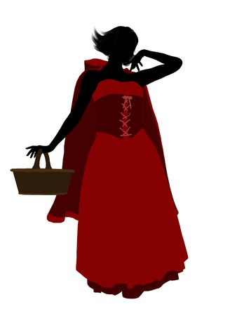 czerwony kapturek: Little Red Riding Hood sylweta ilustracji na białym tle