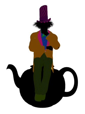 Madhatter from Allice in wonderland illustration silhouette on a white background