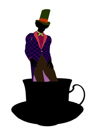 cheshire cat: Madhatter from Allice in wonderland illustration silhouette on a white background
