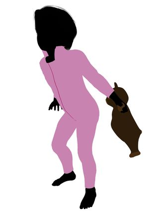 st bernard: Peter of Peter Pan illustration silhouette on a white background