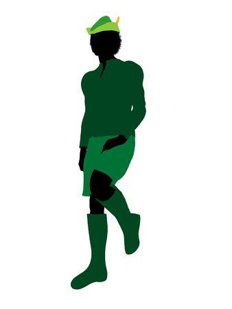 st bernard: Peter Pan illustration silhouette on a white background