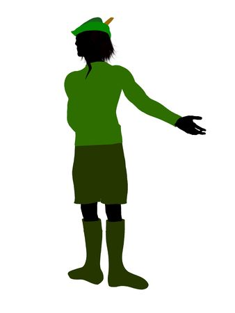 tock illustration: Peter Pan illustration silhouette on a white background