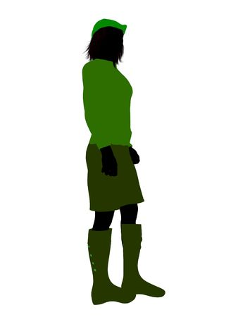 Peter Pan illustration silhouette on a white background